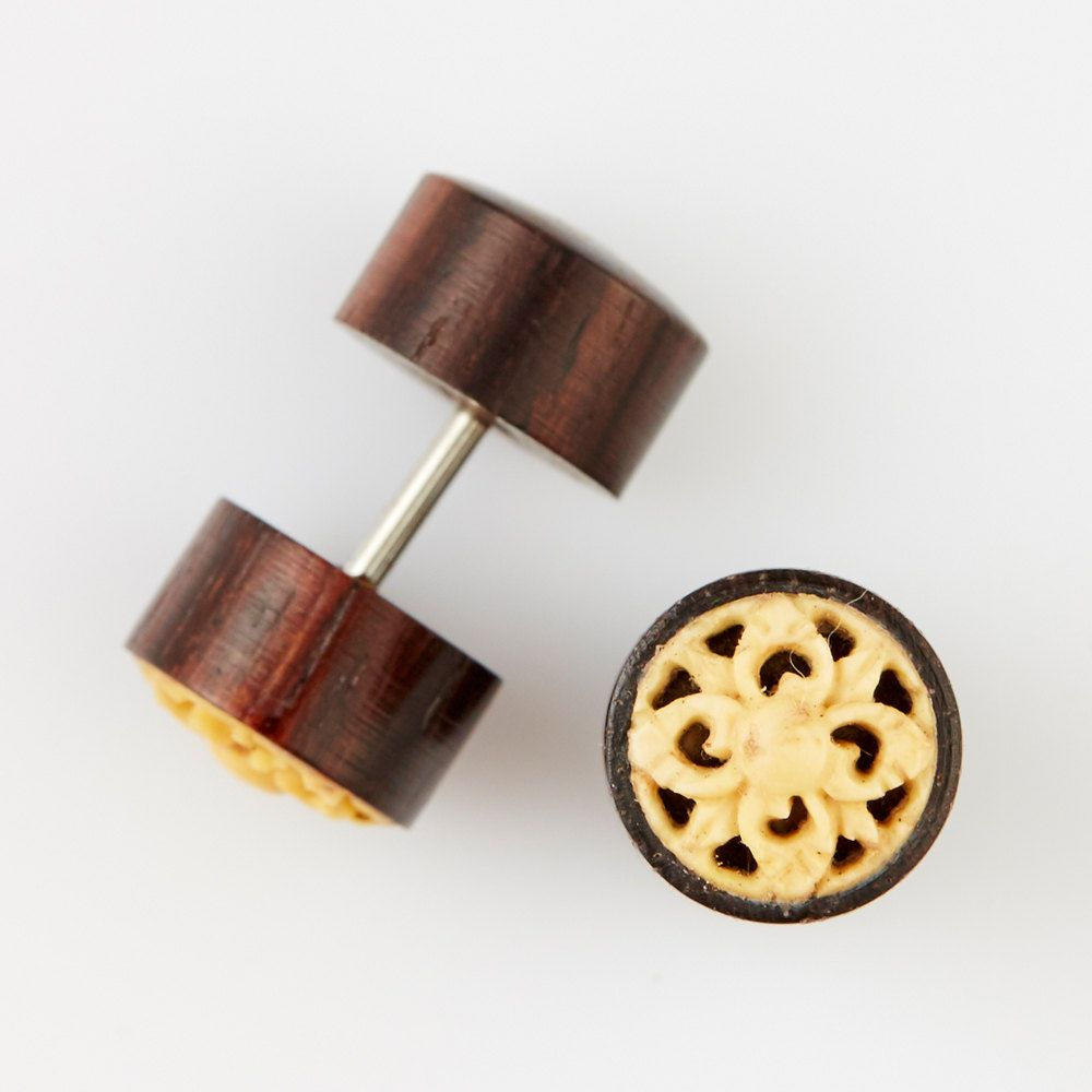 fake gauge earrings fake plugs organic wood earrings