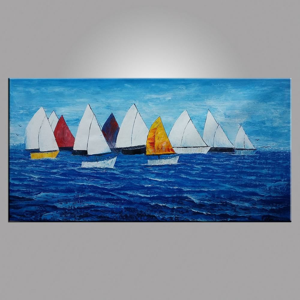 Sail boat painting seascape painting large art canvas art wall art