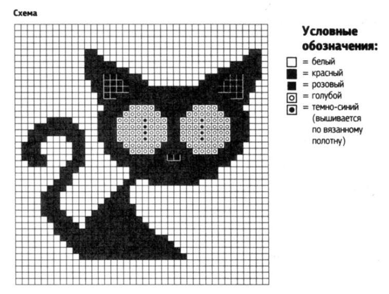 Узор котенка спицами с описанием