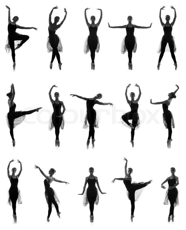 Set of different ballet poses. Black and white traces