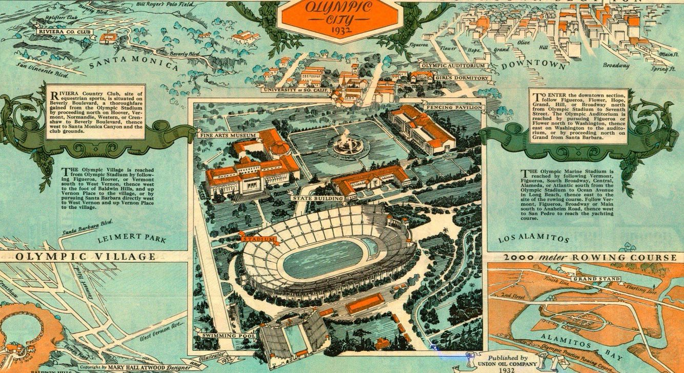 A Map For The Tourists During The 1932 Summer Olympic Games In Los Angeles