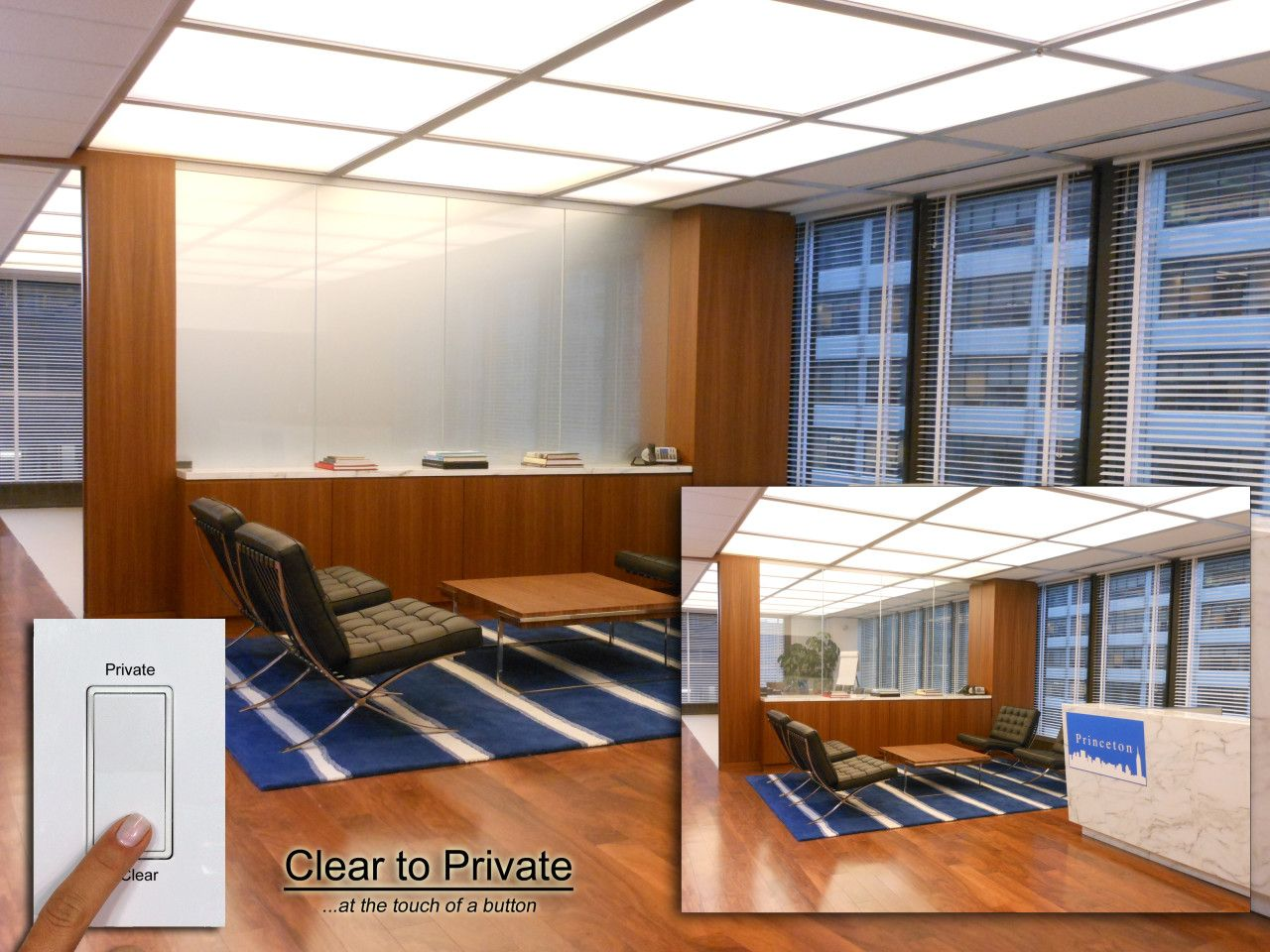 Dynamic clear to private commercial room dividers modern glass