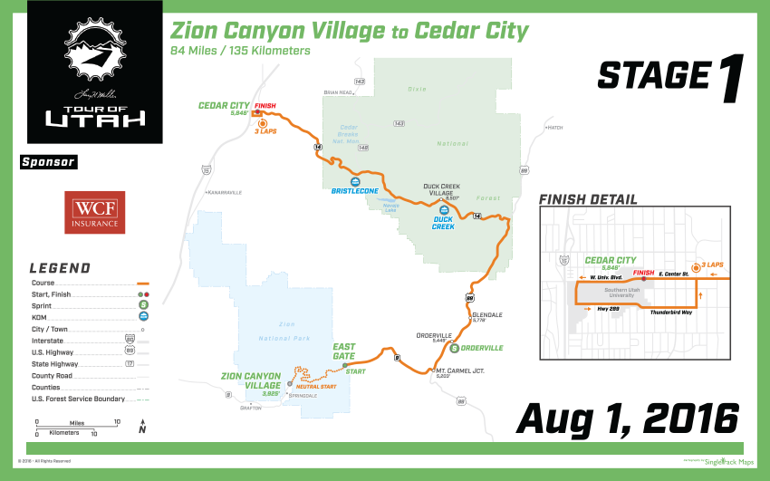 Tour of Utah stage 1 map, ending in Cedar City!