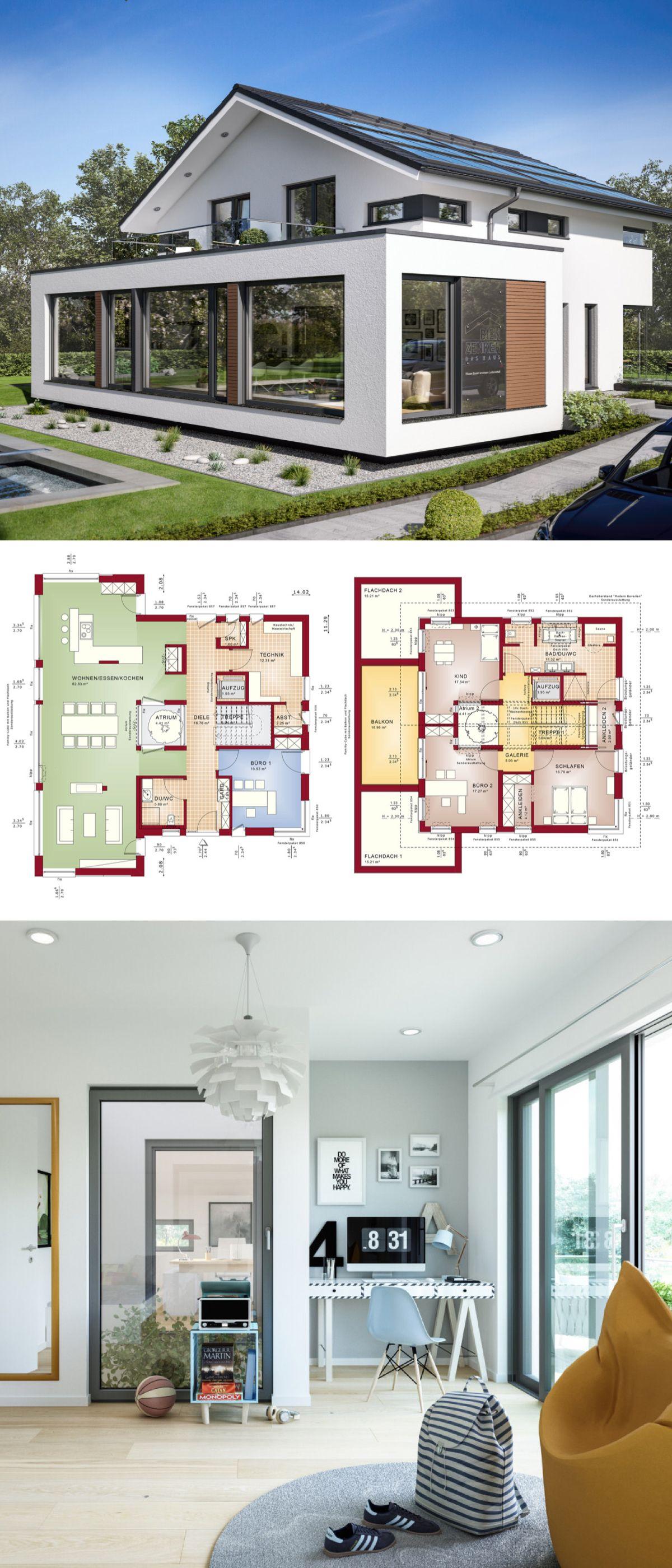 modernes einfamilienhaus neubau mit satteldach architektur & atrium