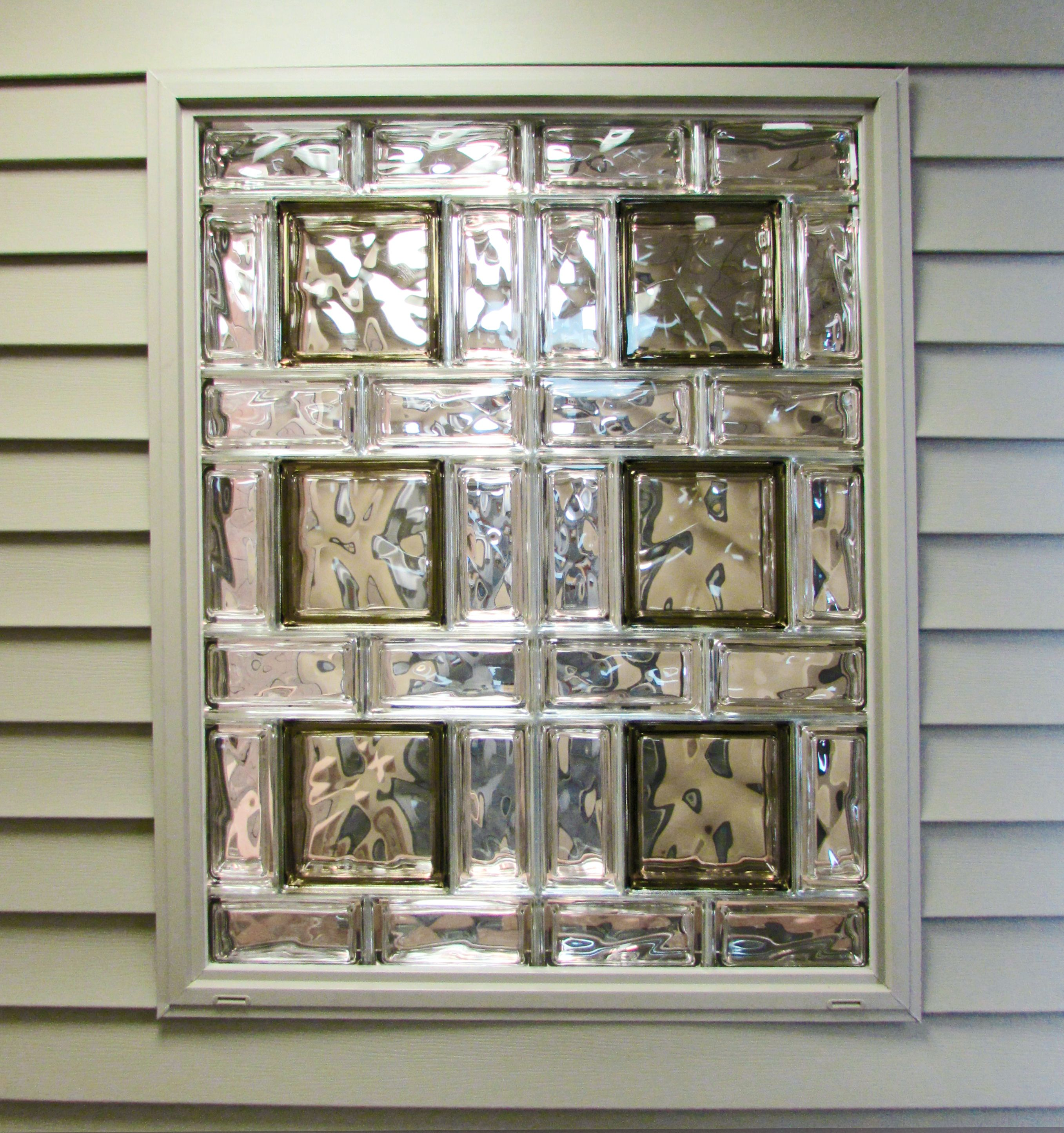 Beautiful Glass Block Window This Is Made Up Of A Combination Of 2 Different Sizes With Nice Col Glass Block Windows Glass Block Shower Small Bathroom Remodel
