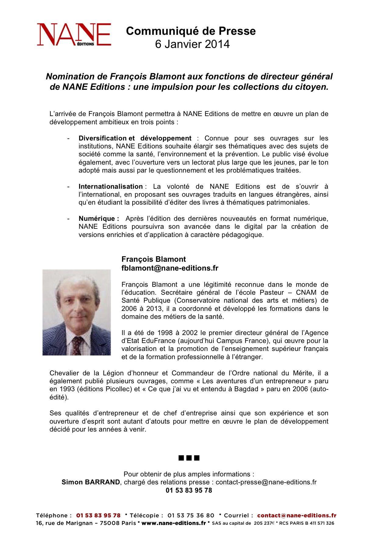 Francois Blamont Nomme Directeur General De Nane Editions Communique De Presse Directeur General Generale