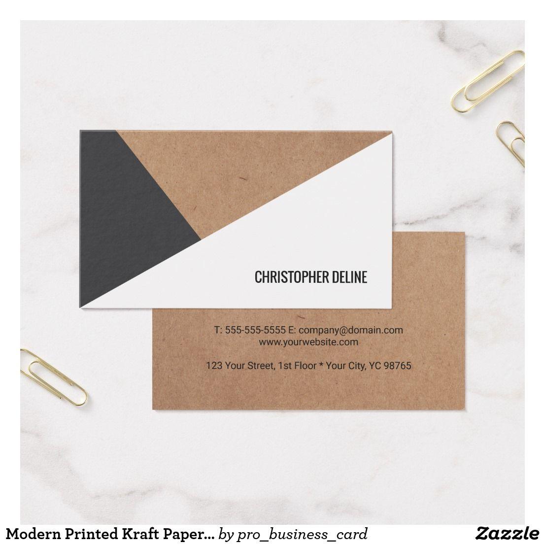 Modern Printed Kraft Paper Grey White Geometric Business Card ...