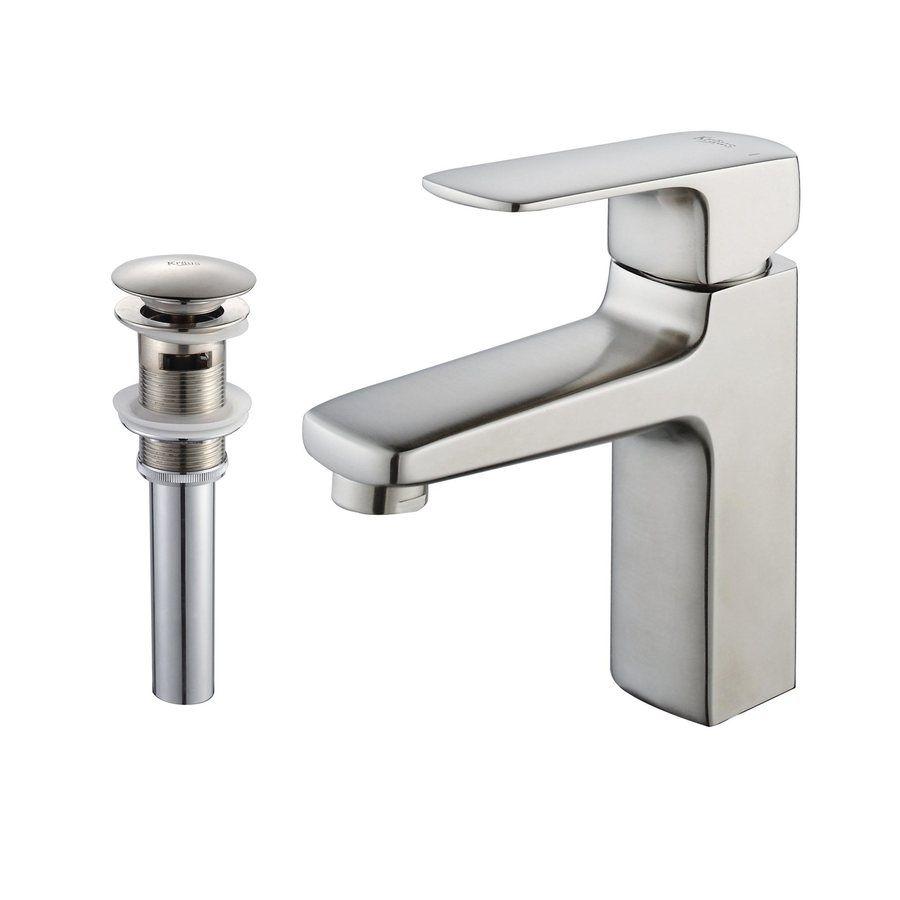 Kraus Virtus Brushed Nickel 1-Handle Single Hole Watersense Bathroom ...