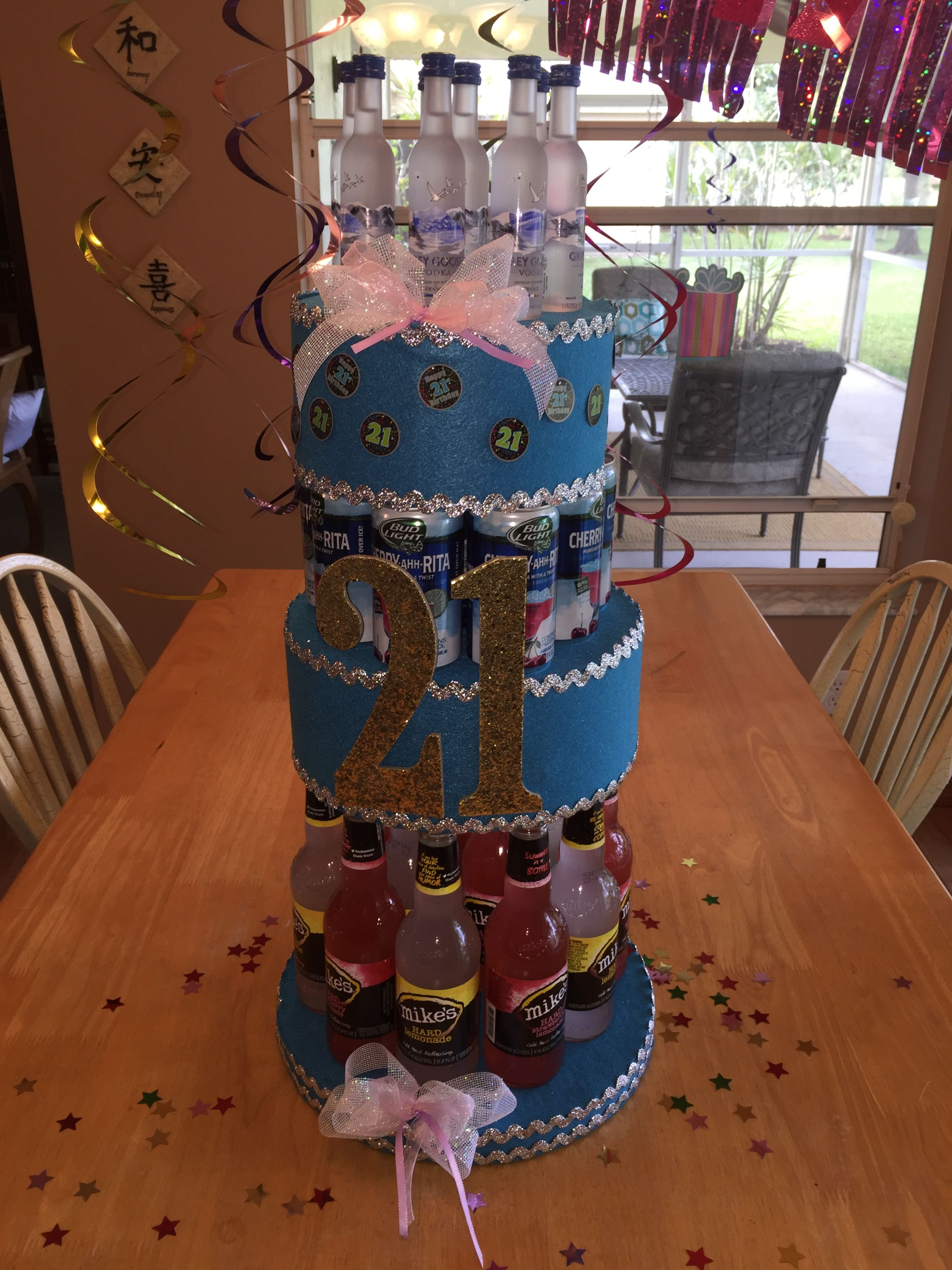 Beer Alcohol Cake For A Girls 21st Birthday With Images 21st
