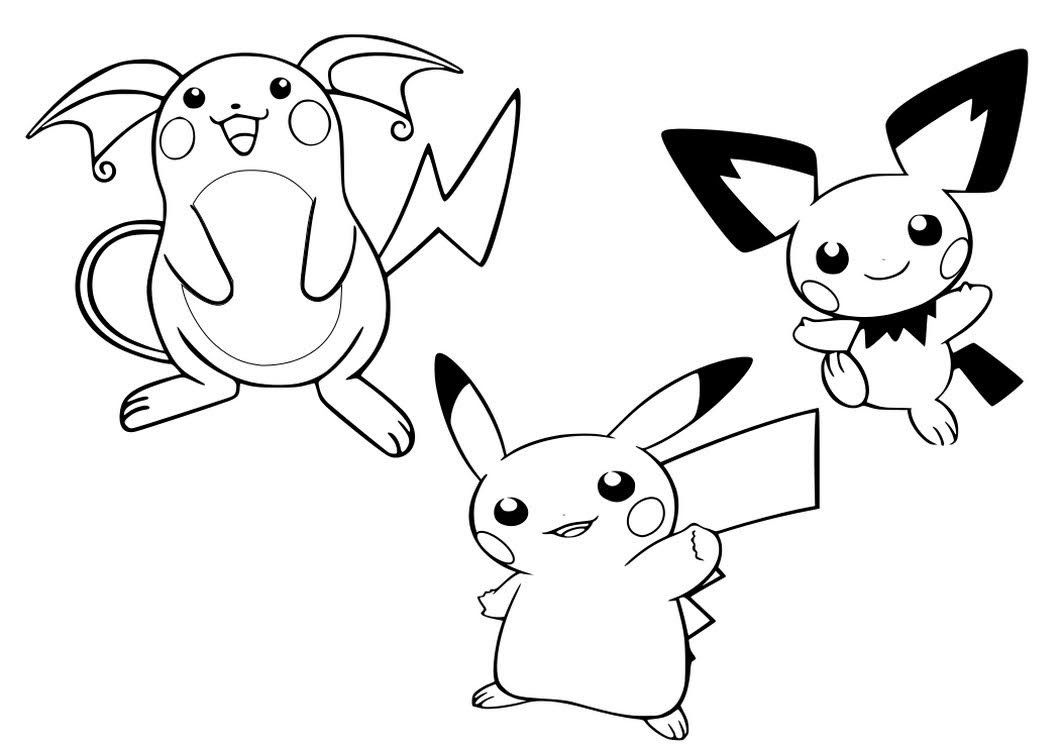 Pichu Pikachu And Raichu Coloring Pages Pokemon Coloring Pages Pokemon Coloring Coloring Pages