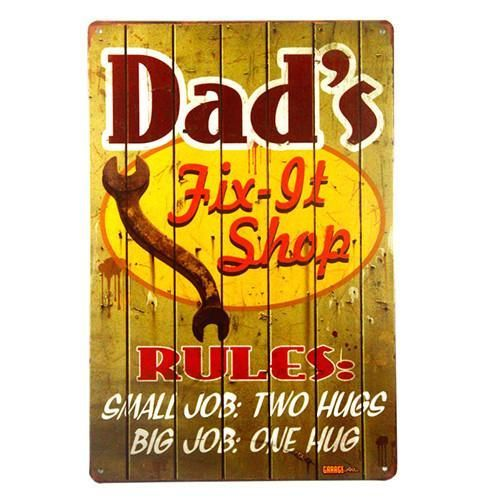 DL-Vintage home decor Dad\'s Garage Metal tin Sign art wall Decor ...