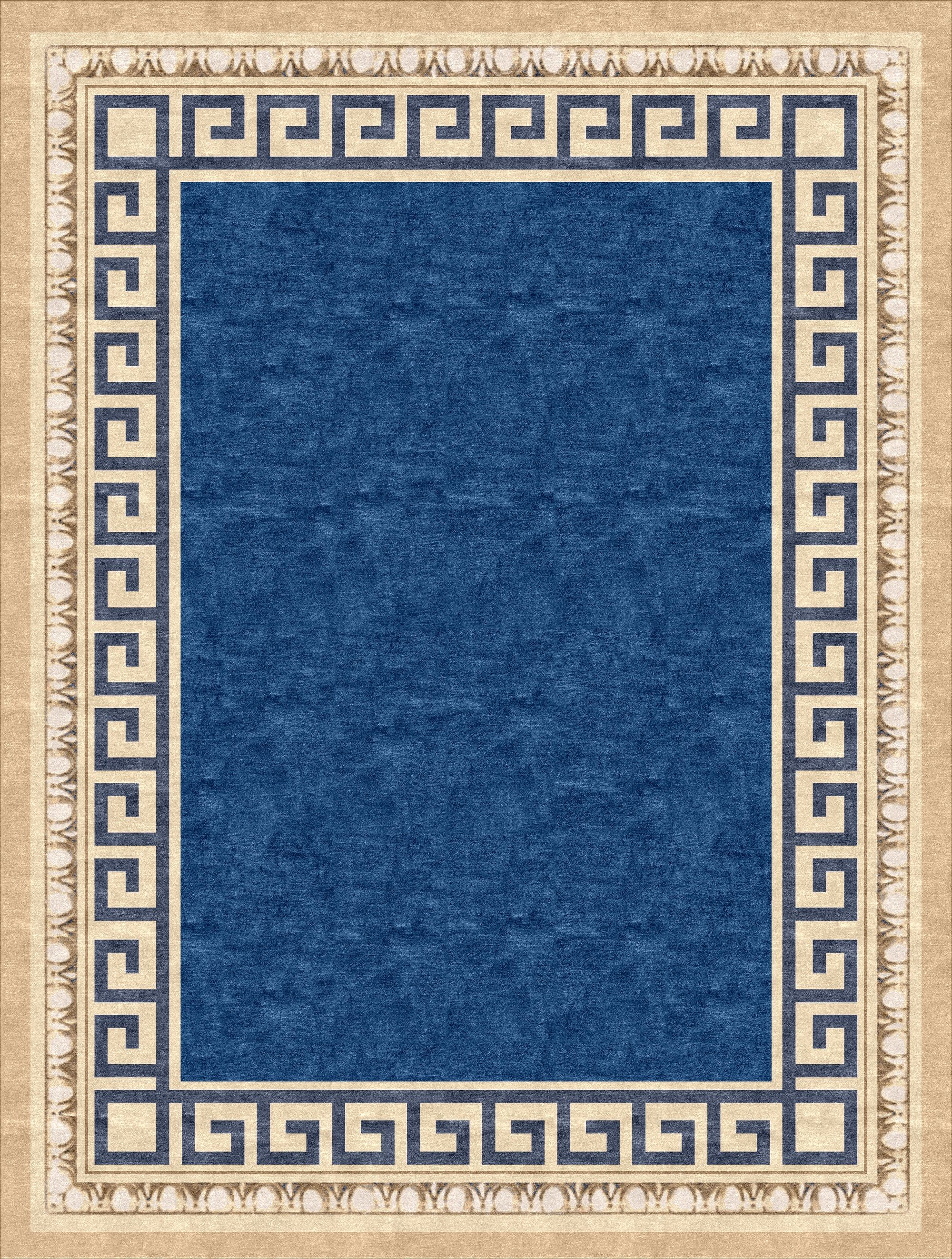 Handtufted rug based on a hand painted wall in the capital building