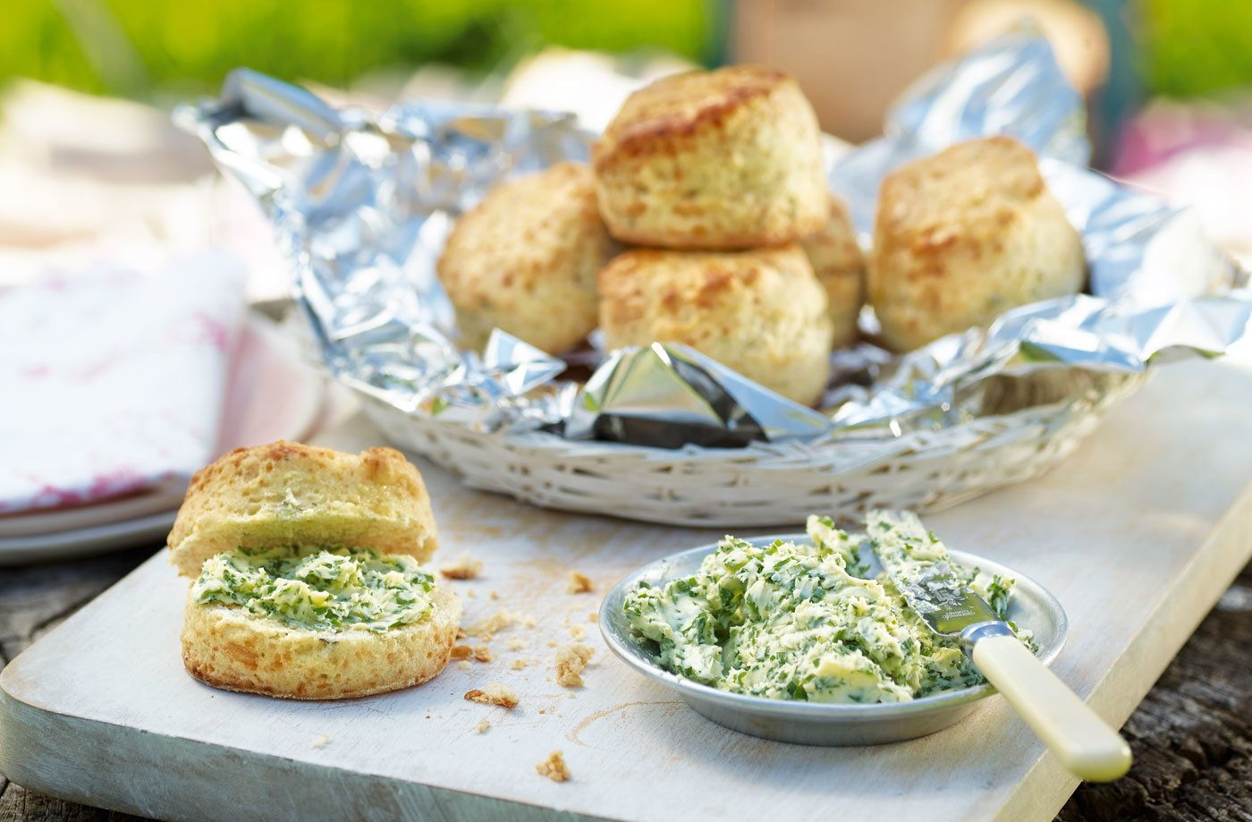 Three Cheese Scones With Herb Butter Tesco Real Food Recipe In 2020 Herb Butter Recipe Tesco Real Food Cheese Scones