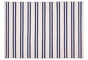 One Kings Lane - Lighter Layers - Loma Flat-Weave Rug, Ivory/Blue
