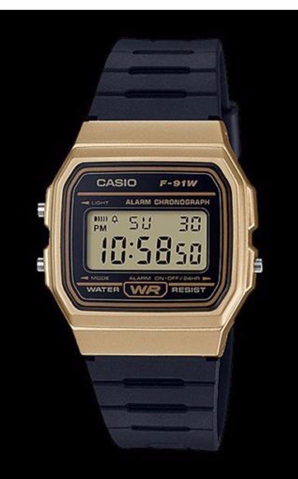 9606c5ddc7e7 Casio Classic Black Gold Sports Watch Retro Style F-91WM-9A