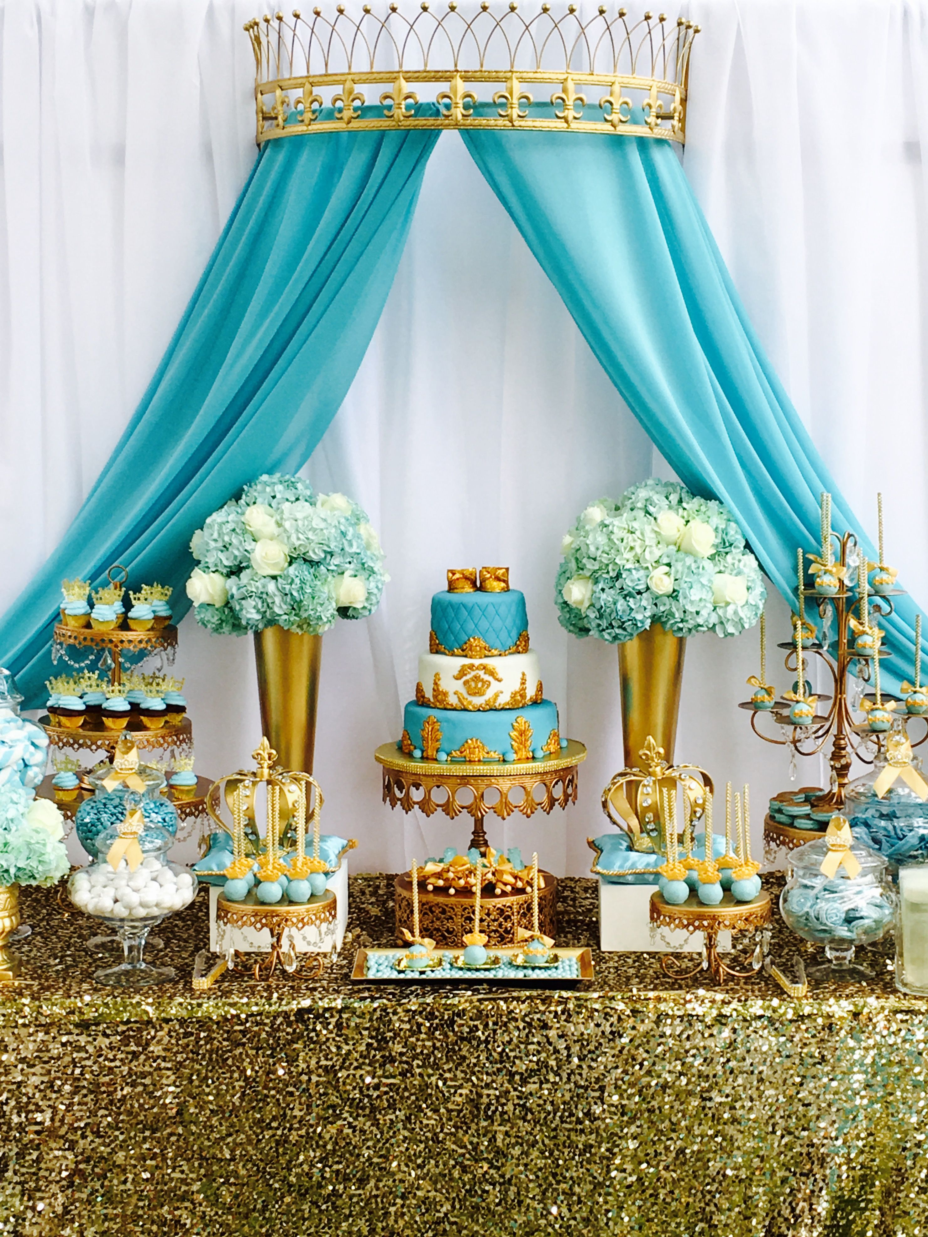Royal Crown baby Shower Cake Gold Tiffany blue Cake by