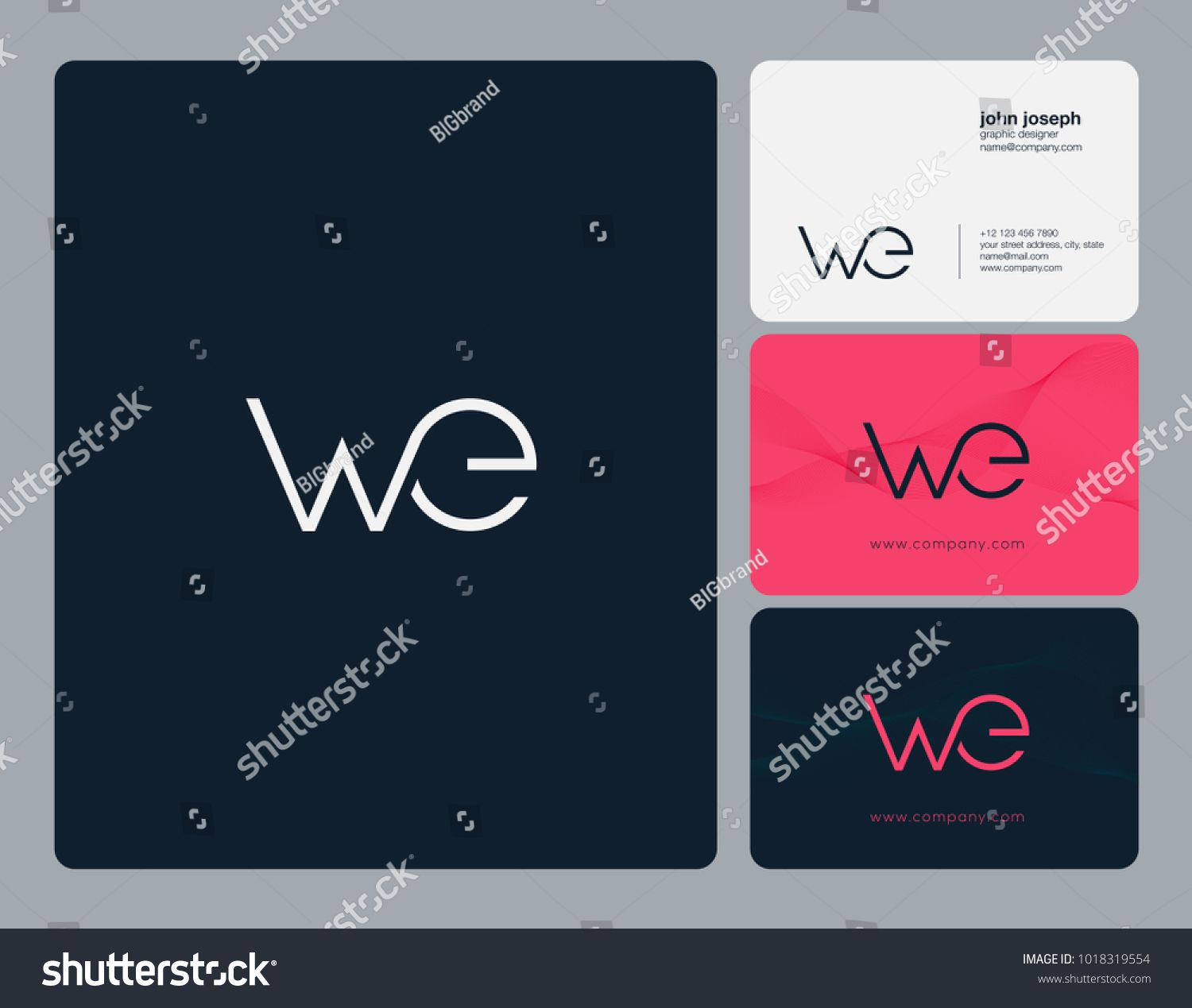 Letters w e w e joint logo icon with business card vector letters w e w e joint logo icon with business card vector template reheart Gallery