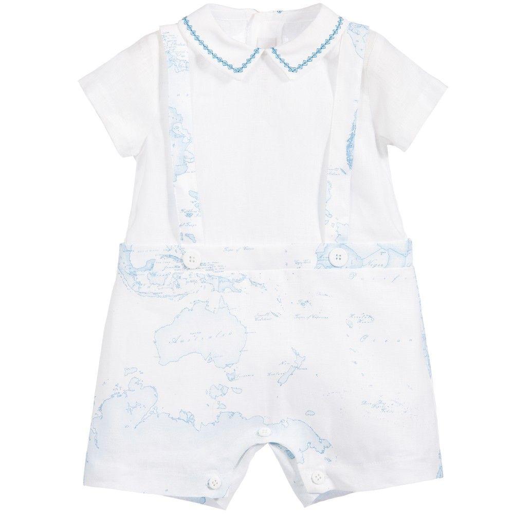 ff6fe5609 Baby Boys White & Blue Linen Map Print Shortie, Alviero Martini, Boy ...