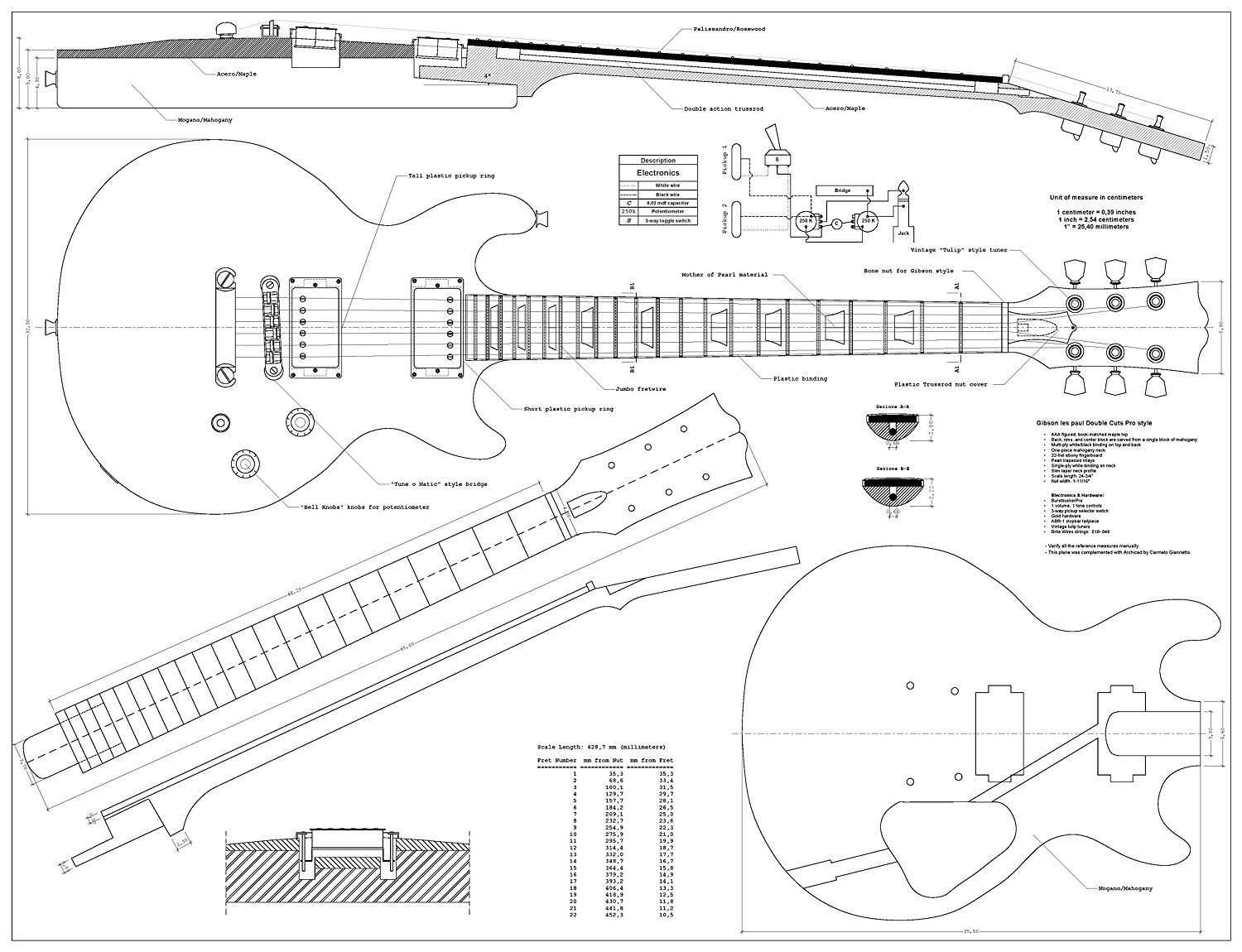Set of 4 Electric Guitar Plans - Gibson Les Paul, Gibson Les paul Double  Cutaway