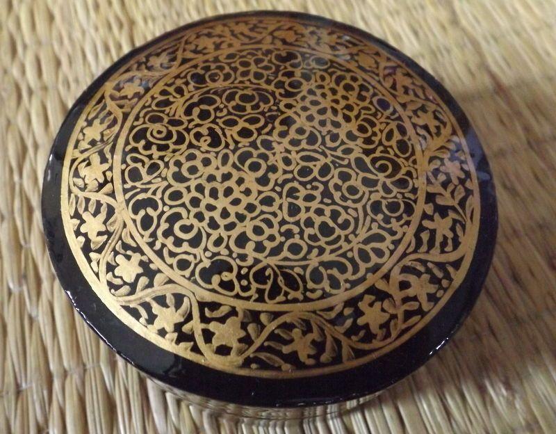 Hand Painted Kashmir Papier Mache Round Black And Gold