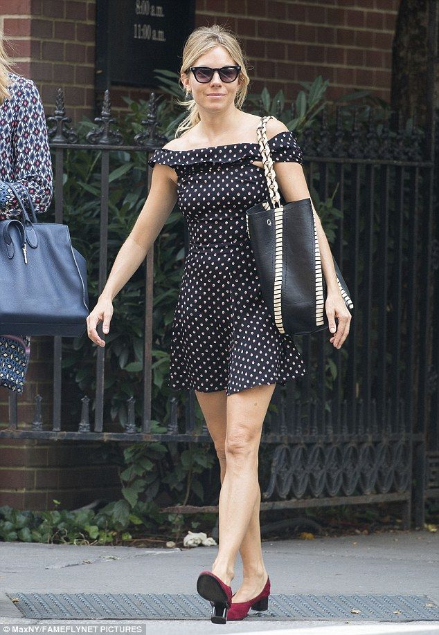 Still feeling the heat:Sienna Miller is refusing to swap to her autumn wardrobe just yet ...