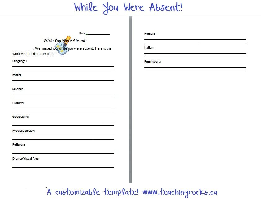 While you were absent\u0027\u2013 A note for your students! {Freebie - absence note
