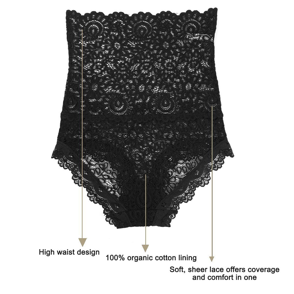 4bff2883b Eves Temptation Corey HighWaisted Panties Slimming Floral Stretchy Lace  Sexy Lingerie Underwear for Women Black Large     Click on the image for  additional ...