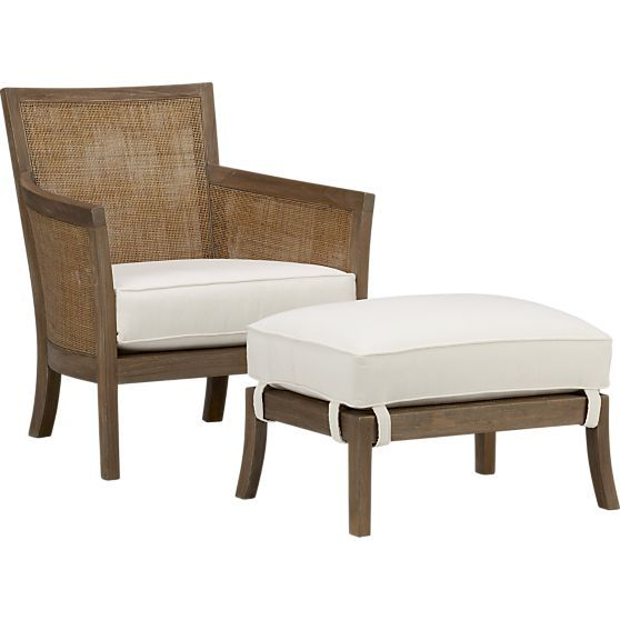 Blake Rattan White Cushioned Chair + Reviews | Crate and ...