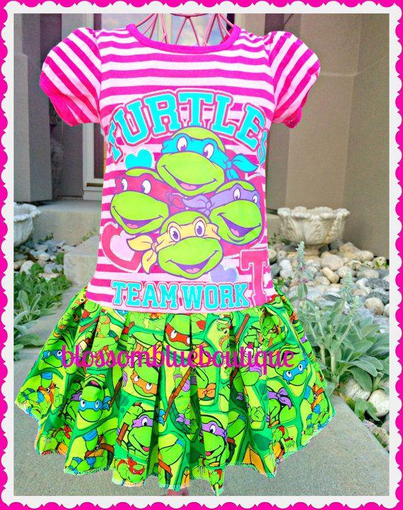 Turtle Birthday Parties Girls Ninja Dress Teenage Mutant By BlossomBlueBoutique