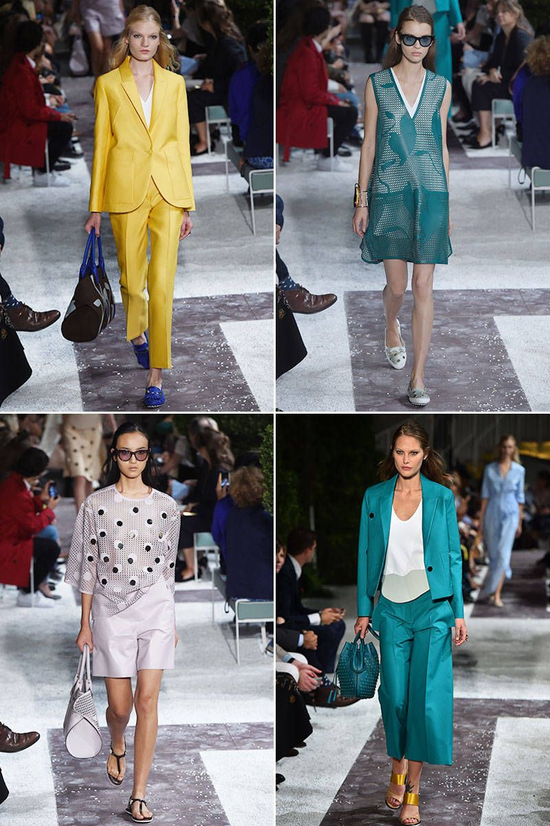 Tod's continues its fashion evolution with a colorful spring collection that is rooted in luxury staples. Collection highlights included suiting in bright bold colors for spring—in particular a yellow pantsuit and a turquoise pantsuit that redefine the boundaries of power-dressing for the office. Plus, the bags, which are always a strong category for Tod's, were simple yet architectural, and a win for the modern woman.   - ELLE.com
