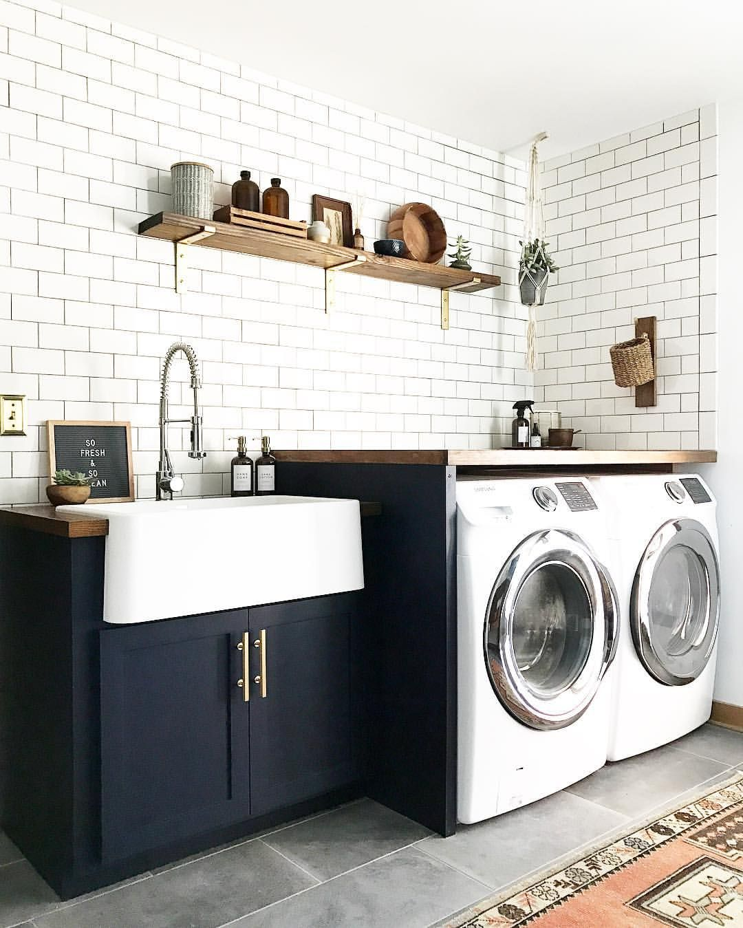 Blue, White, Brass, Boho Laundry Room