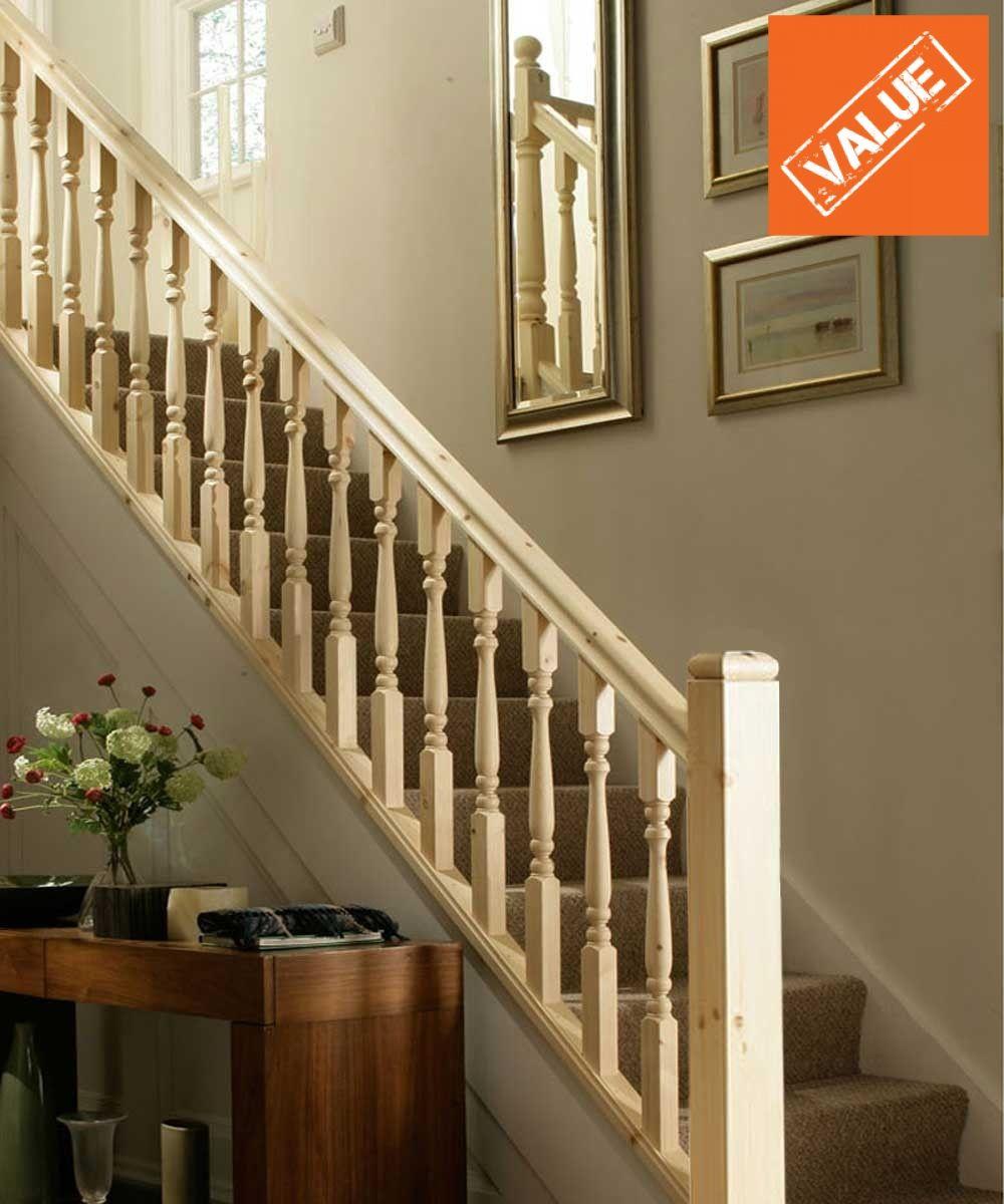 Best Value Turned Pine Staircase Landing Balustrade Kit 640 x 480