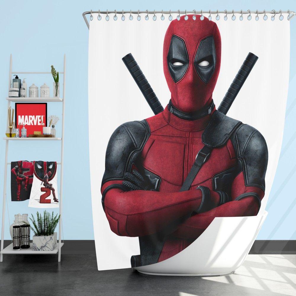 Deadpool Movie Shower Curtain Deadpool Movie Superhero Deadpool