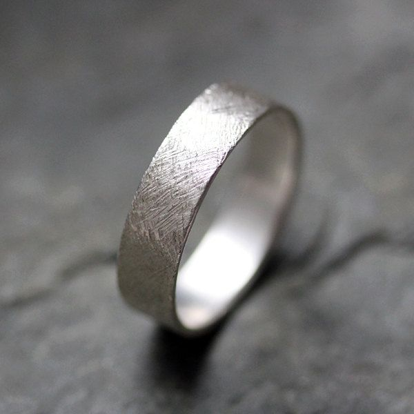 textured wedding band ring recycled sterling silver mens wedding ring artisan metalsmith