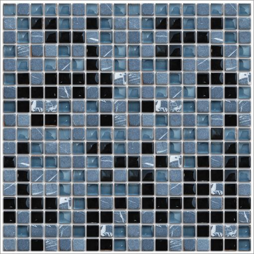 Mini Stone Glass Mosaic Tile Marquina Light Is An Elegant Combination Of Natural Stone And Glass Tiles Mosaic Tiles Glass Mosaic Tiles Mosaic Glass