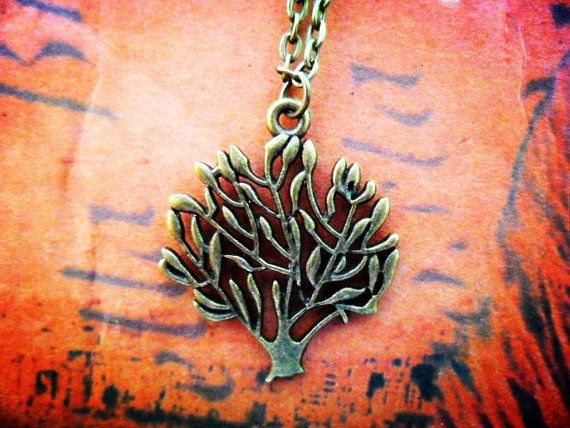 Tree Necklace, Tree of Life - forest Woodland minimalist Bronze Pendant, everyday wear, gift, modern, casual, simple