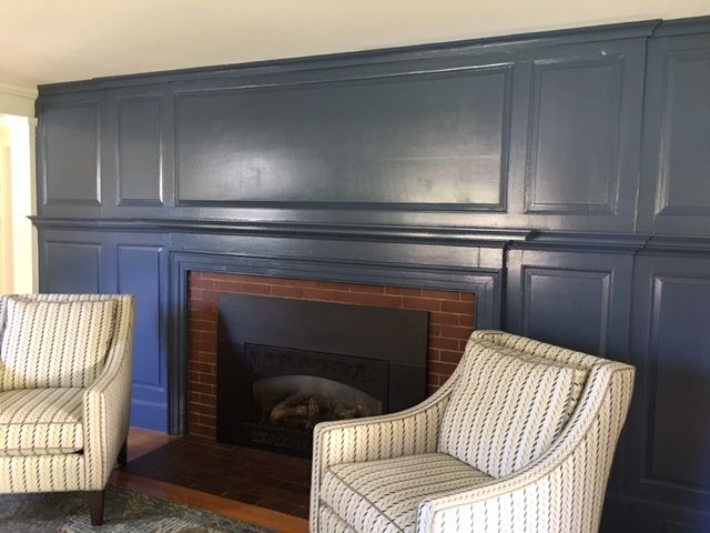 BM Van Deusen Blue painted fireplace wall
