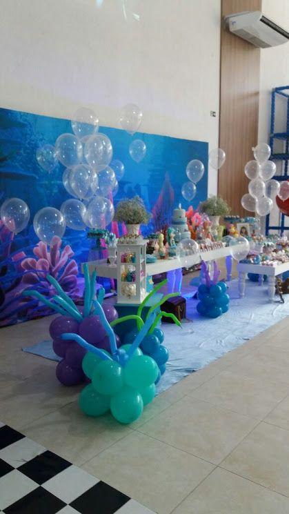 Momento Mágico Decorações Fundo Do Mar Menina Painel 3d Festas