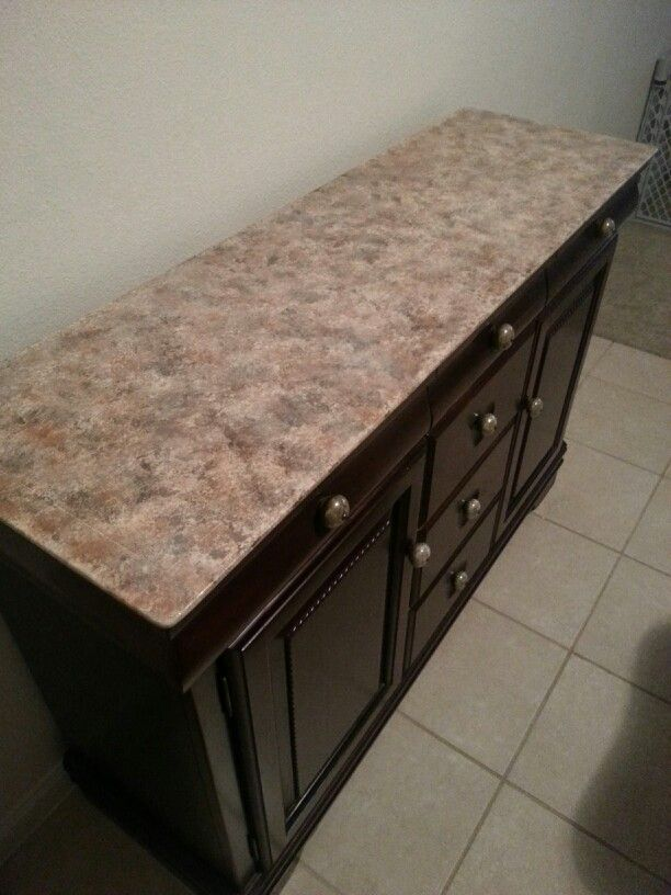 Refinished An Old Buffet With Faux Granite Top Rr Faux Granite