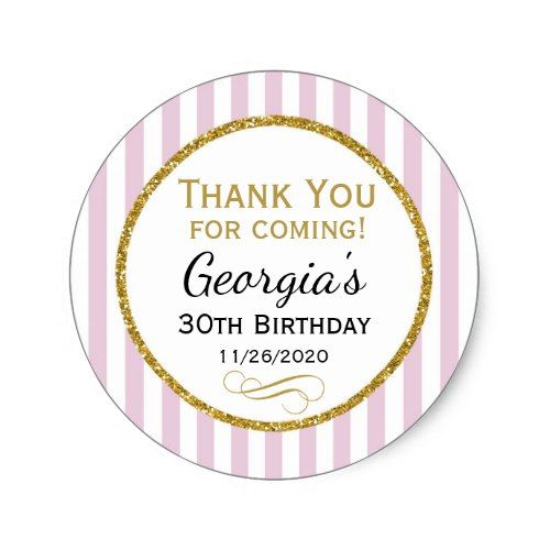 Elegant birthday favor tags pink gold thank you pink birthday party pinterest favors birthdays and gold birthday