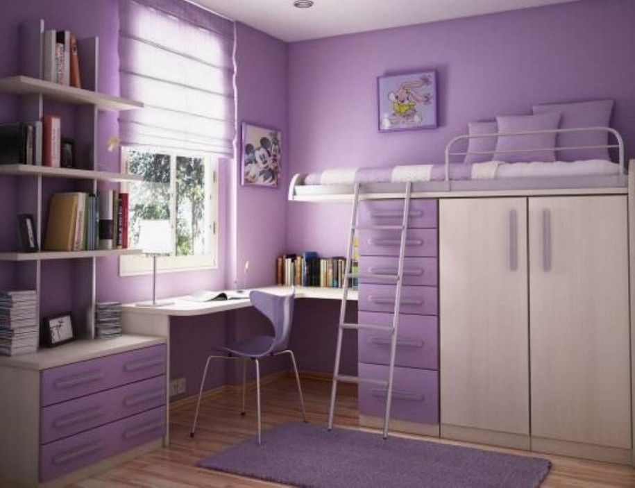 Bedroom Furniture For Teenagers Purple Wall Bookcase Study
