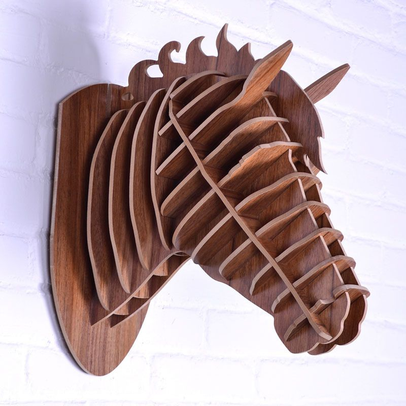 Design Carved Wooden Horse Head Art Home Decoration Simple Fashion Europe Style Mdf Animal Head