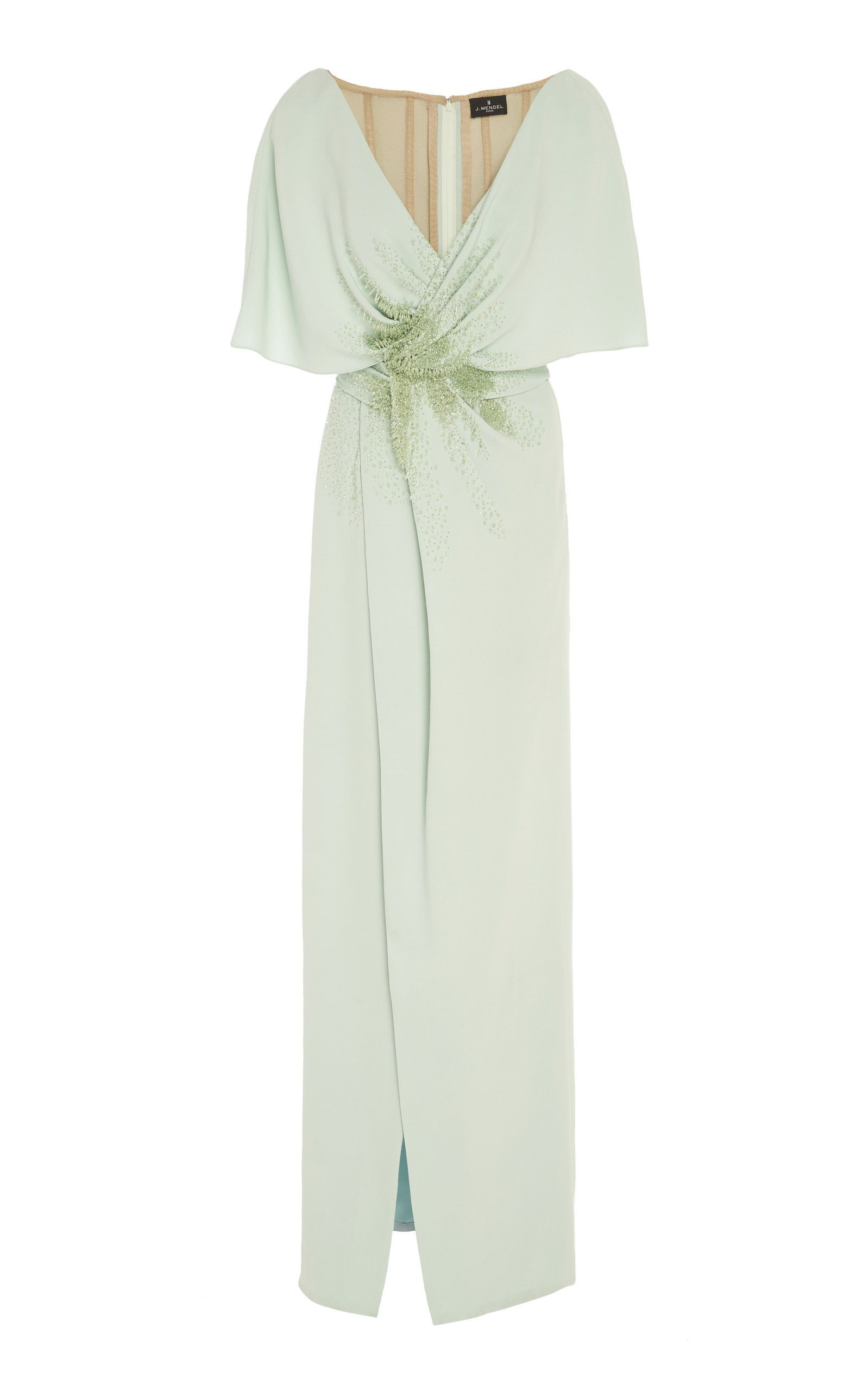 Offshoulder embroidered silk cape gown in playing dressup
