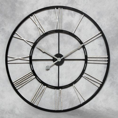 extra large modern wall clocks uk metal skeleton clock with silver numerals contemporary
