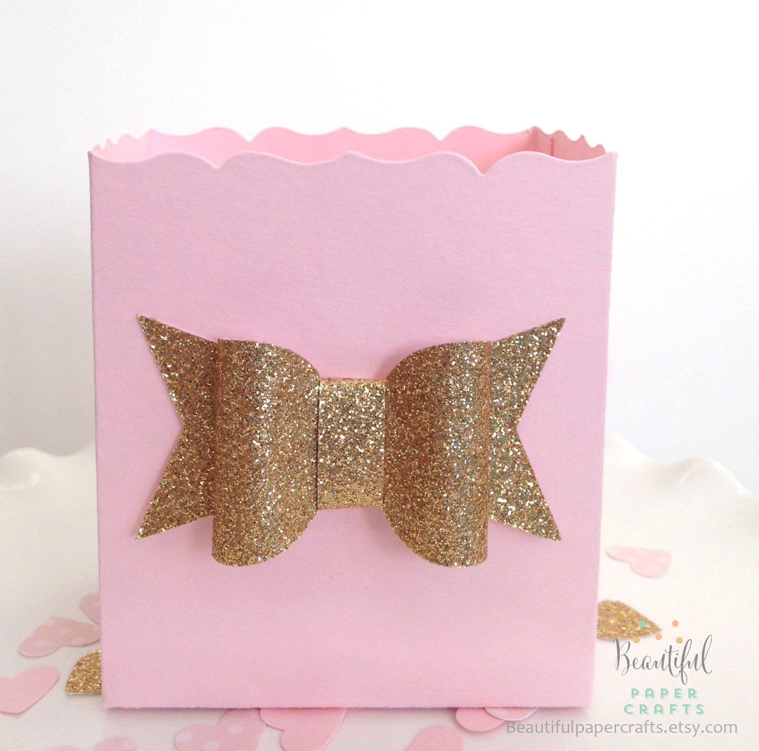 Pink and Gold Baby Shower Favor Box    Gold Glitter Bow    Pink ...