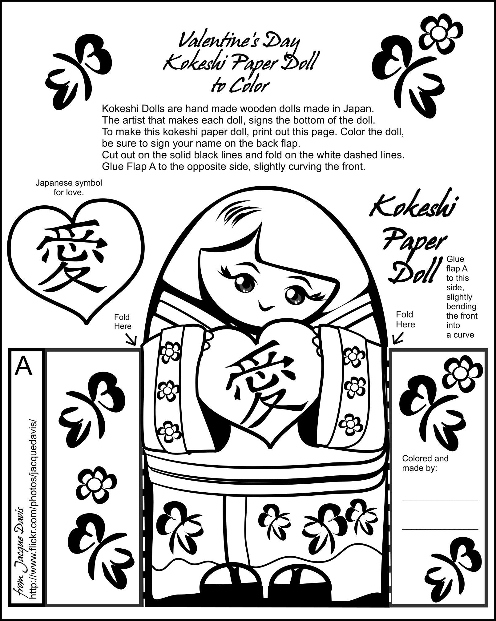 Valentine S Day Kokeshi Paper Doll To Color Free