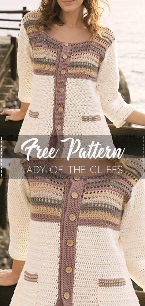 Lady of the Cliffs – Pattern Free – Easy Crochet #crochetsweaterpatternwomen