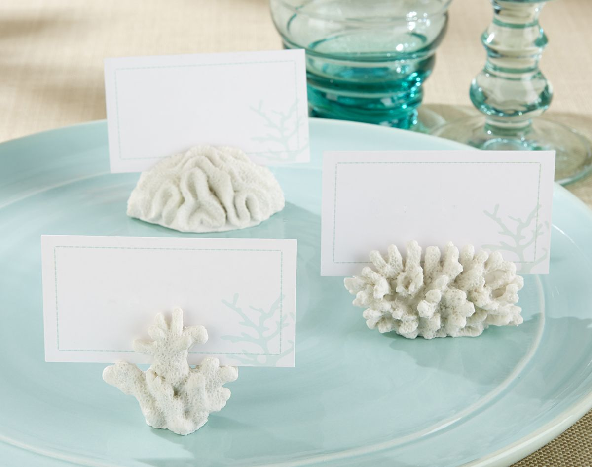 Coral place cards for a #beachwedding | Place card, Beach themed ...