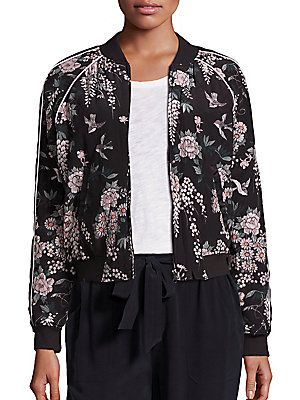 87cd20ddaa3 JOIE MACE SILK FLORAL-PRINT BOMBER JACKET. #joie #cloth # | Joie ...