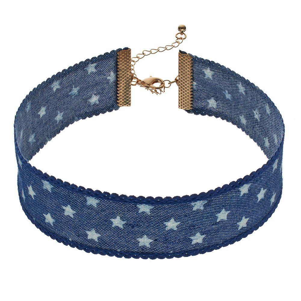 Mudd® Blue Denim Star Choker Necklace, Women's